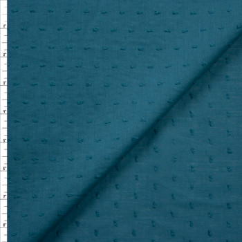 Teal Swiss Dot Cotton Lawn Fabric By The Yard