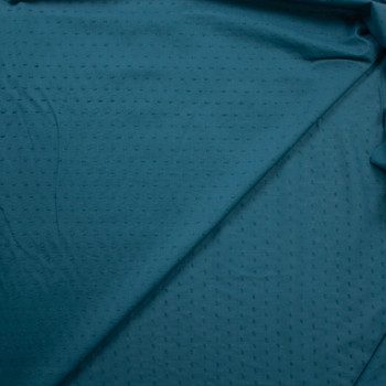Teal Swiss Dot Cotton Lawn Fabric By The Yard - Wide shot
