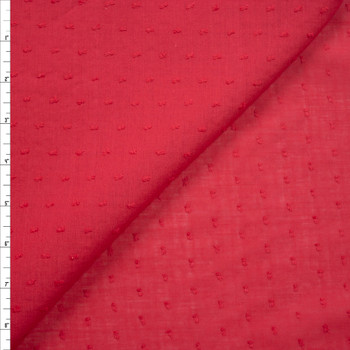 Red Swiss Dot Cotton Lawn Fabric By The Yard