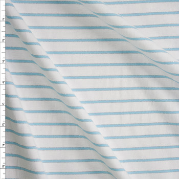 Light Blue and Metallic Silver Stripes on Warm White Fabric By The Yard