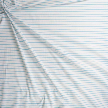 Light Blue and Metallic Silver Stripes on Warm White Fabric By The Yard - Wide shot