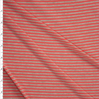 Coral and Tan Narrow Horizontal Stripe Fabric By The Yard
