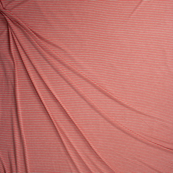 Coral and Tan Narrow Horizontal Stripe Fabric By The Yard - Wide shot