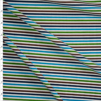 Lime, Turquoise, Navy, and Brown on White Narrow Horizontal Stripes Fabric By The Yard