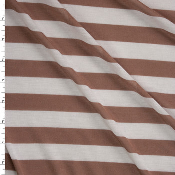 Cappuccino and Warm White Horizontal Stripe Fabric By The Yard