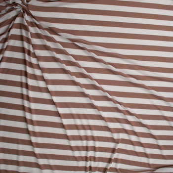 Cappuccino and Warm White Horizontal Stripe Fabric By The Yard - Wide shot