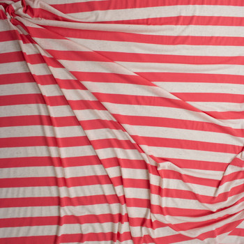 Coral and Natural Horizontal Stripe Fabric By The Yard - Wide shot
