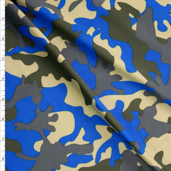 Olive, Tan, Grey, and Bright Blue Camo Fabric By The Yard
