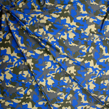 Olive, Tan, Grey, and Bright Blue Camo Fabric By The Yard - Wide shot