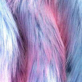 Cotton Candy Rainbow Swirl Faux Fur