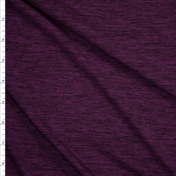 Plum Space Dye Moisture Wicking Designer Athletic Knit Fabric By The Yard