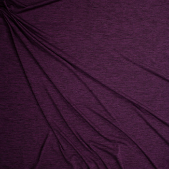 Plum Space Dye Moisture Wicking Designer Athletic Knit Fabric By The Yard - Wide shot