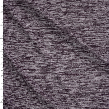 Eggplant Grey Space Dye Moisture Wicking Designer Athletic Knit Fabric By The Yard
