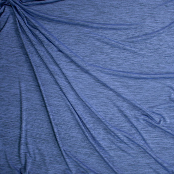 Periwinkle Grey Space Dye Moisture Wicking Designer Athletic Knit Fabric By The Yard - Wide shot