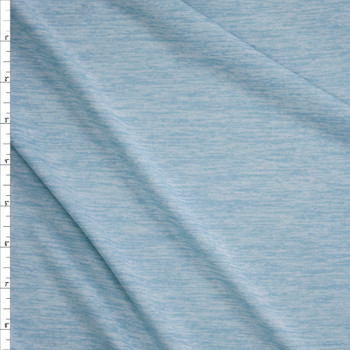 Light Aqua Space Dye Moisture Wicking Designer Athletic Knit Fabric By The Yard