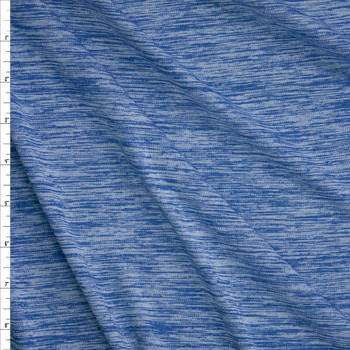 Arctic Blue Space Dye Moisture Wicking Designer Athletic Knit Fabric By The Yard