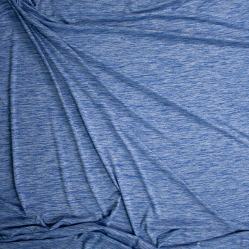 Arctic Blue Space Dye Moisture Wicking Designer Athletic Knit Fabric By The Yard - Wide shot