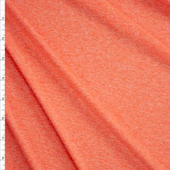 Sherbet Orange Heather Moisture Wicking Designer Athletic Knit Fabric By The Yard