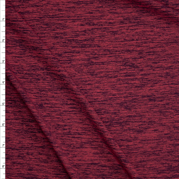 Burgundy Space Dye Moisture Wicking Designer Athletic Knit Fabric By The Yard