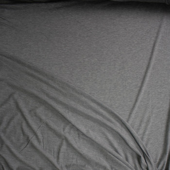 Heather Grey Lightweight Soft Stretch French Terry Fabric By The Yard - Wide shot