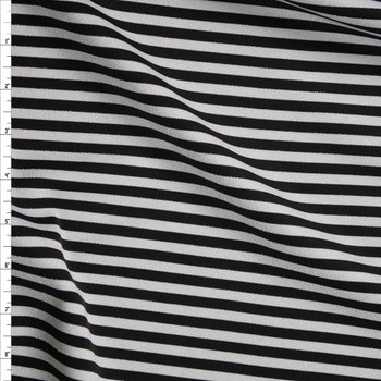 Black and Metallic Silver Stripe Scuba Knit Fabric By The Yard