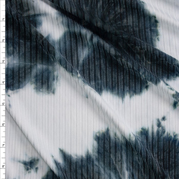 Navy and White Tie Dye Stretch Brushed Rib Knit Fabric By The Yard