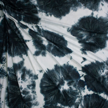 Navy and White Tie Dye Stretch Brushed Rib Knit Fabric By The Yard - Wide shot