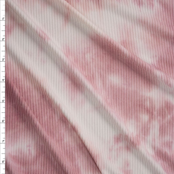 Pink and White Tie Dye Stretch Brushed Rib Knit Fabric By The Yard