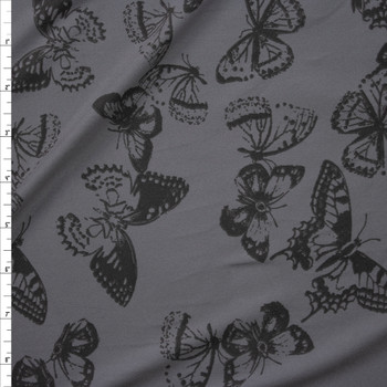 Charcoal Butterflies on Grey Double Brushed Poly/Spandex Knit Fabric By The Yard