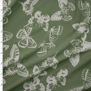White Butterflies on Sage Green Double Brushed Poly/Spandex Knit Fabric By The Yard