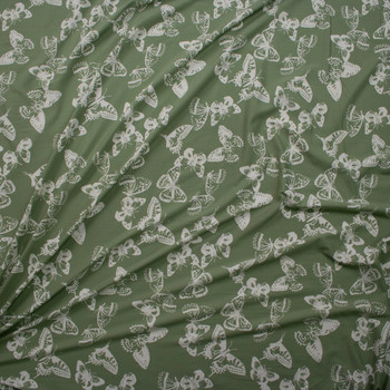 White Butterflies on Sage Green Double Brushed Poly/Spandex Knit Fabric By The Yard - Wide shot