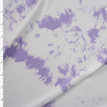 Lilac and White Tie Dye Double Brushed Poly/Spandex Knit Fabric By The Yard