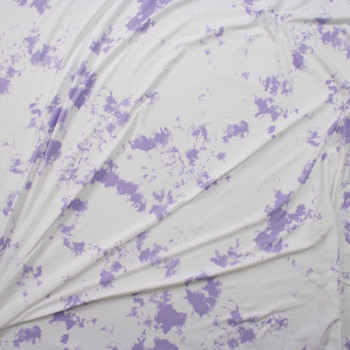 Lilac and White Tie Dye Double Brushed Poly/Spandex Knit Fabric By The Yard - Wide shot
