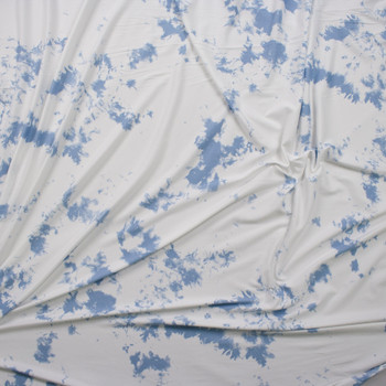 Sky Blue and White Tie Dye Double Brushed Poly/Spandex Knit Fabric By The Yard - Wide shot