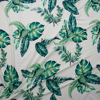 Island Palms on Warm White Double Brushed Poly/Spandex Knit Fabric By The Yard - Wide shot