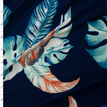 Teal and Orange Island Palms on Navy Blue Double Brushed Poly/Spandex Knit Fabric By The Yard