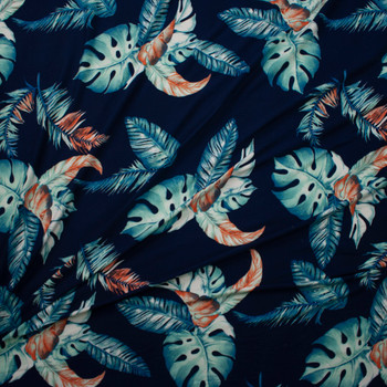 Teal and Orange Island Palms on Navy Blue Double Brushed Poly/Spandex Knit Fabric By The Yard - Wide shot