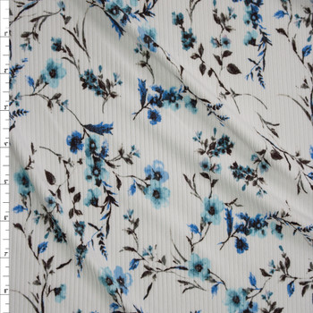 Light Blue Floral on White Brushed Stretch Rib Knit Fabric By The Yard
