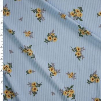 Yellow Floral on Light Blue Brushed Stretch Rib Knit Fabric By The Yard
