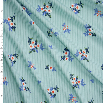 White Floral on Light Seafoam Brushed Stretch Rib Knit Fabric By The Yard