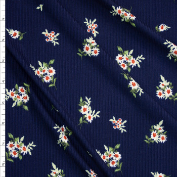 White Floral on Navy Blue Brushed Stretch Rib Knit Fabric By The Yard