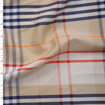 Tan, Red, Navy, and White Plaid Lightweight Cotton Sateen Fabric By The Yard