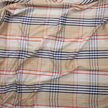 Tan, Red, Navy, and White Plaid Lightweight Cotton Sateen Fabric By The Yard - Wide shot