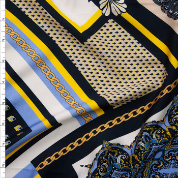 Black, Light Blue, Tan, and Gold Chains and Paisley Diamonds Rayon Challis Fabric By The Yard