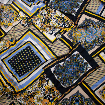 Black, Light Blue, Tan, and Gold Chains and Paisley Diamonds Rayon Challis Fabric By The Yard - Wide shot
