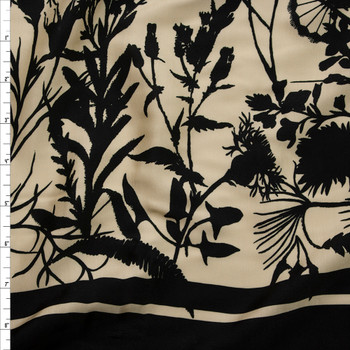 Black Wildflower Silhouettes on Soft Yellow Lightweight Rayon Sateen Fabric By The Yard