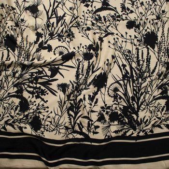 Black Wildflower Silhouettes on Soft Yellow Lightweight Rayon Sateen Fabric By The Yard - Wide shot