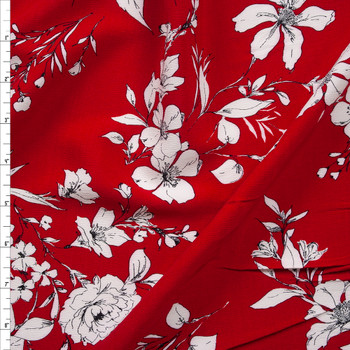 White Sketch Floral on Red Rayon Crepe Fabric By The Yard
