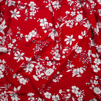White Sketch Floral on Red Rayon Crepe Fabric By The Yard - Wide shot