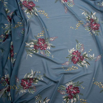 Plum Floral on Slate Blue Designer Chiffon Fabric By The Yard - Wide shot